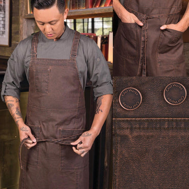 GALVESTON CROSS URBAN BACK BIB APRON,COLOR:CHOCOLATE - Mabrook Hotel Supplies