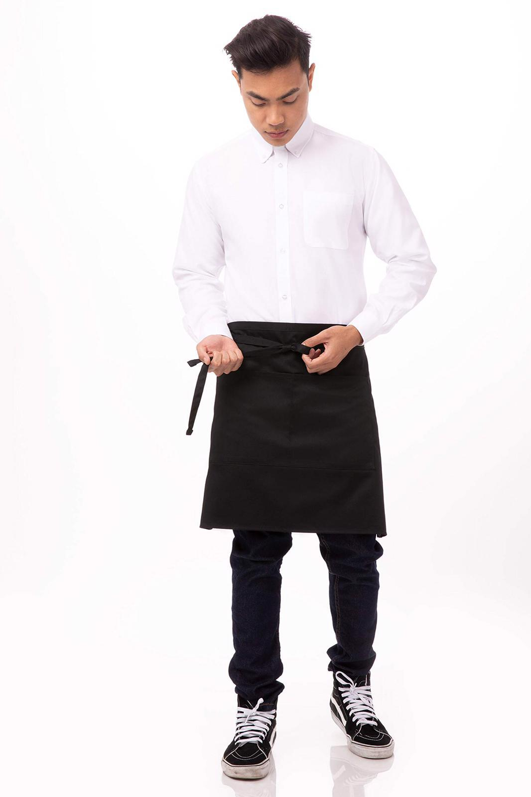 Half Bistro Apron: Black. - Mabrook Hotel Supplies