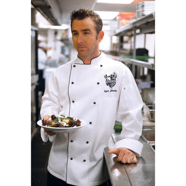 NEW PORT EXECUTIVE CHEF COAT MENS P/C WITH STUD STR,COLOR:WHITE - Mabrook Hotel Supplies