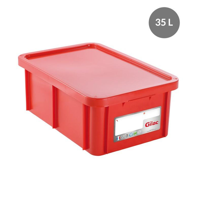 """RECTANGULAR CONTAINER WITH LID, COLOR: RED, CAPACITY 35 L, H"""