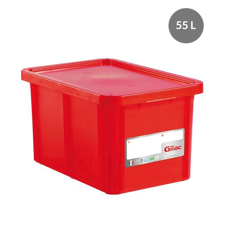"""RECTANGULAR CONTAINER WITH LID, COLOR: RED, CAPACITY: 55 L,"" - Mabrook Hotel Supplies"