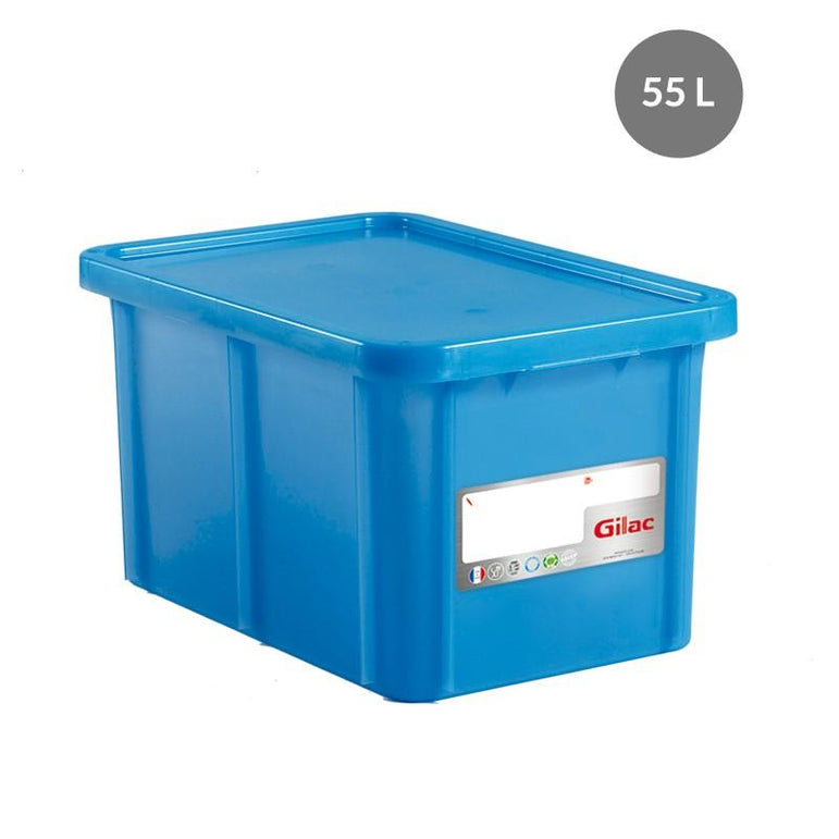 """RECTANGULAR CONTAINER WITH LID, COLOR: BLUE, CAPACITY: 55 L,"""