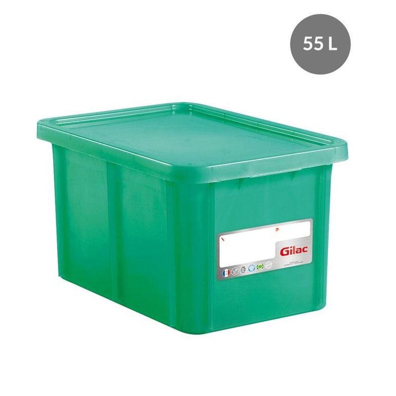 """RECTANGULAR CONTAINER WITH LID, COLOR: GREEN, CAPACITY: 55 L"""