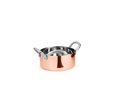 HEAVY SAUCE PAN WITH 2 SIDE S/S HANDLES, S/S PLAIN VINTAGE GOLD FINISH,DIM:11.5X4.5 CM,CAP:400 ML (1 PORTION) - Mabrook Hotel Supplies