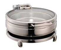 ROUND LUXURY CHAFING DISH S/S STANDARD FRAME GLASS LID .CAP. - Mabrook Hotel Supplies