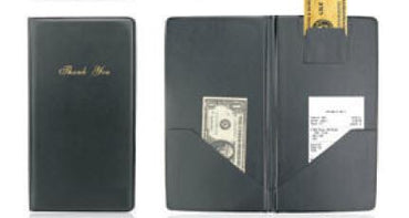 """GUEST CHECK HOLDER BLACK 10-12""""x5-1/""""2, W/GOLD """"Thank you"""""""