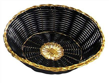 """8X2.5"""" ROUND GOLDEN TRIM BLACK BASKET"""
