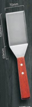 """WOOD HANDLE GRIDDLE SCRAPER 4.875x3"""" BLADE"" - Mabrook Hotel Supplies"