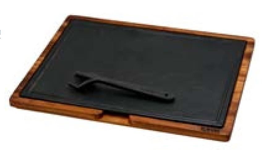 WOODEN SERVICE PLATTER WITH HOT PLATE CAST IRON(5 PIECES SILICON SEPERATOR,BETWEEN WOOD AND PLATE)DIM:30X40 CM(WHITOUT GRIPPER) - Mabrook Hotel Supplies