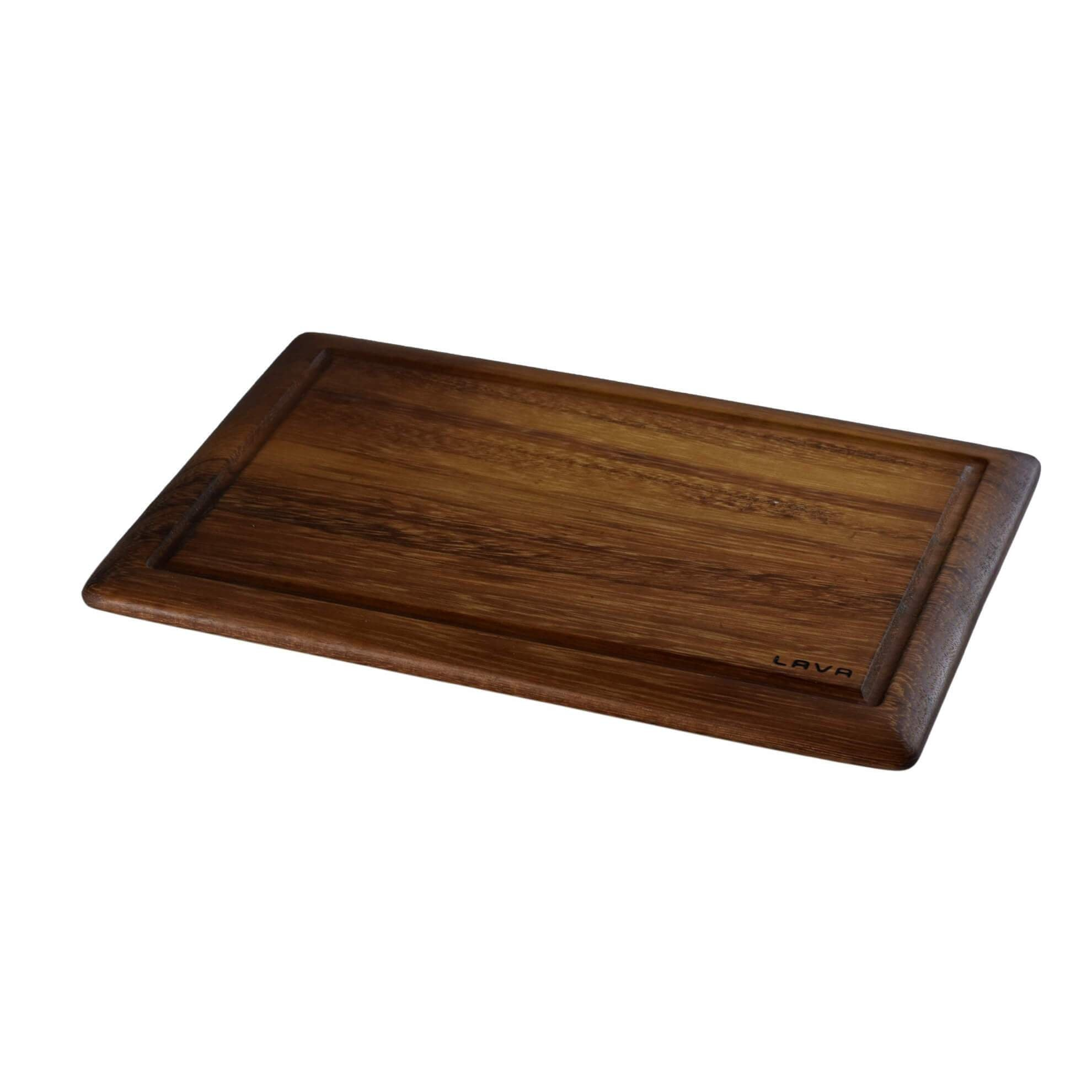 Wooden Service and Cutting Board, Rectangular, Iroko wood. Dimension 25x35cm.