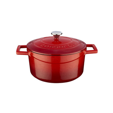 """ROUND CASSEROLE-DIAMETER: 24 CMS, COLOR: RED FOLK STYLE LID """