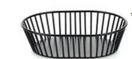 WIRE BASKET, OVAL, BLACK METAL