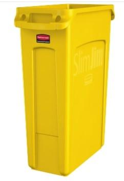 Rubbermaid Open Rectangular Slim Trash Can 23 Gal - Yellow - Mabrook Hotel Supplies