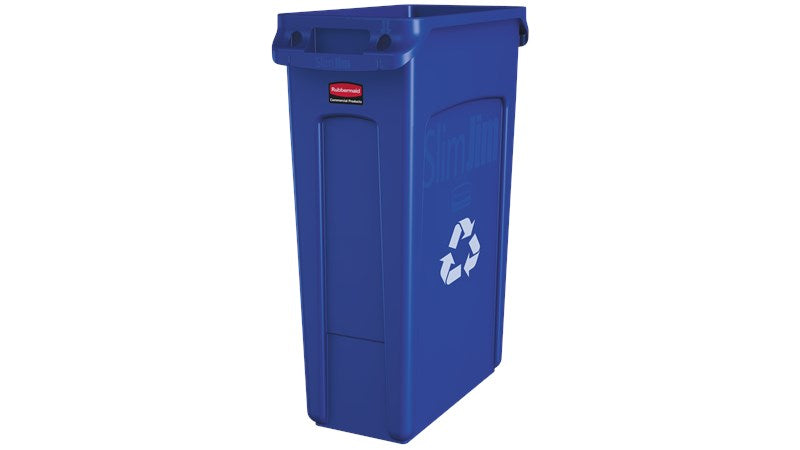 Rubbermaid Slim Jim Recycling Can 23 Gal - Blue - Mabrook Hotel Supplies