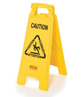 Rubbermaid Multilingual 2 Sided Caution Sign 26