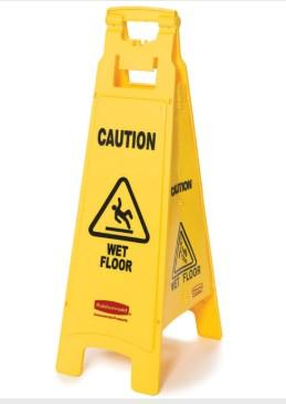 "Rubbermaid ""WET FLOOR"" SIGN, 4 SIDED, 38"", YELLOW - Mabrook Hotel Supplies"