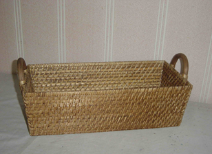 """RECTANGULAR BASKET W/HANDLES, DIM: 46x22xH14CM."" - Mabrook Hotel Supplies"