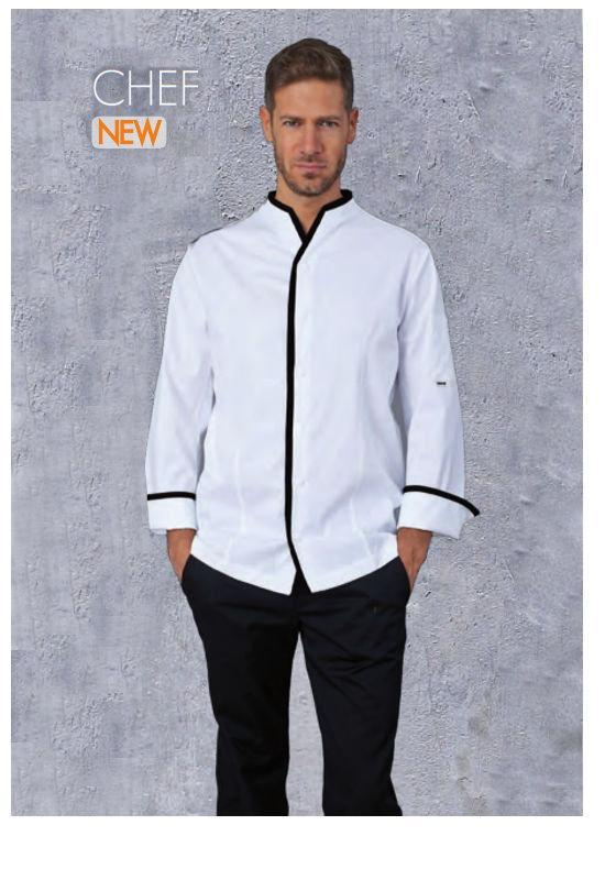 CHEF JACKET WHITE +BLACK - Mabrook Hotel Supplies