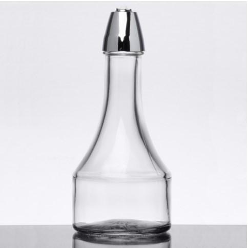 OIL & VINEGAR BOTTLES WITH CHROME PLATED ABS TOPS DIA:8OZ - Mabrook Hotel Supplies