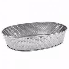 "OVAL DINER PLATTER. STAINLESS STEEL CONSTRUCTION WITH BRICK PATTERN TEXTURE. DIM:9.5""X6""X1.5"""