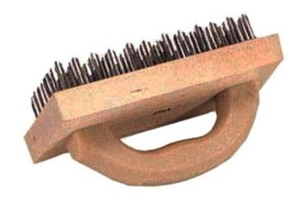 BUTCHER BLOCK BRUSH 4INCHx9INCH FLAT WIRE ATTACHED TO HARDWO