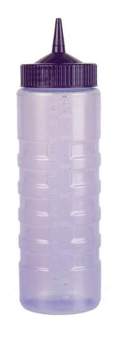 """COLOR MATE SQUEEZE BOTTLE DISPENSER, 24oz, WIDE MOUTH, STANDARD CAP, MOULDED IN OUNCE MARKING, POLYETHYLENE, PURPLE BOTTLE"" - Mabrook Hotel Supplies"