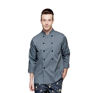 CHEF COATS GRAY .BLACK FLAT BOTTON - Mabrook Hotel Supplies