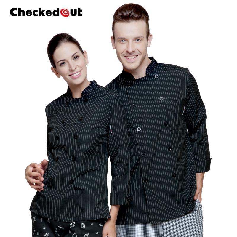 CHEF COATS MAN BLACK AND WHITE STRIPES - Mabrook Hotel Supplies
