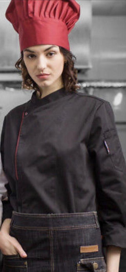 CHEF JACKET BLACK RED LINE PUSS BOTTON - Mabrook Hotel Supplies