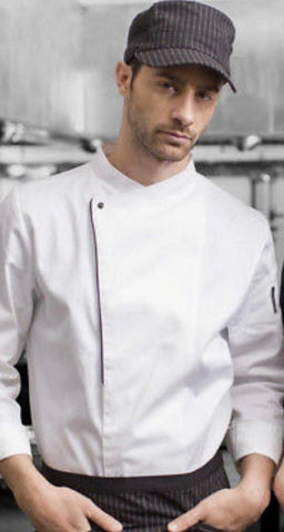 chef jaket white black line puss botton - Mabrook Hotel Supplies