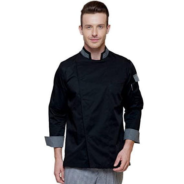 chef jaket black and grey puss botton - Mabrook Hotel Supplies