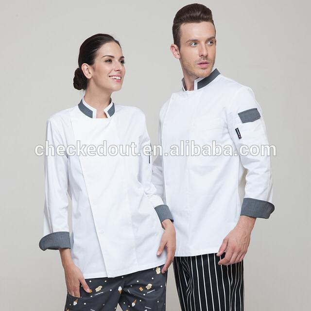 chef jaket white and gray puss botton - Mabrook Hotel Supplies