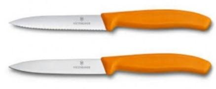 SWISS CLASSIC PARING KNIFE 10CM 1 WAVY + 1 NORMAL CUT. ORANGE. BLISTER. BLISTER PACKAGING.