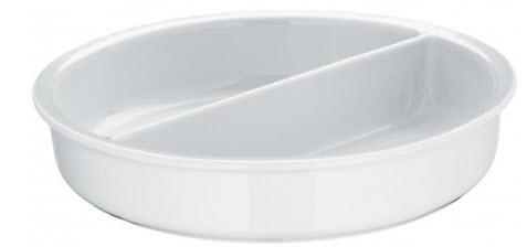 Porcelain insert, dia 13 1/4 in, cap 132 oz, height 2 3/4 in.
