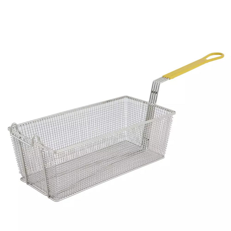 """WIRE FRY BASKET 16-3/4X8-3/4X6"""" YELLOW HANDLE"" - Mabrook Hotel Supplies"