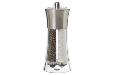 BISETTI ACRYLIC & STAINLESS STEEL PEPPER MILL AND SALT DUAL BIG