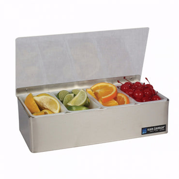SAN JAMAR NON-CHILLED GARNISH TRAYS 4 COMPARTMENTS