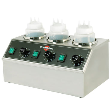 KRAMPOUZ 3 BOTTLES ELECTRIC TOPPING WARMER - Mabrook Hotel Supplies