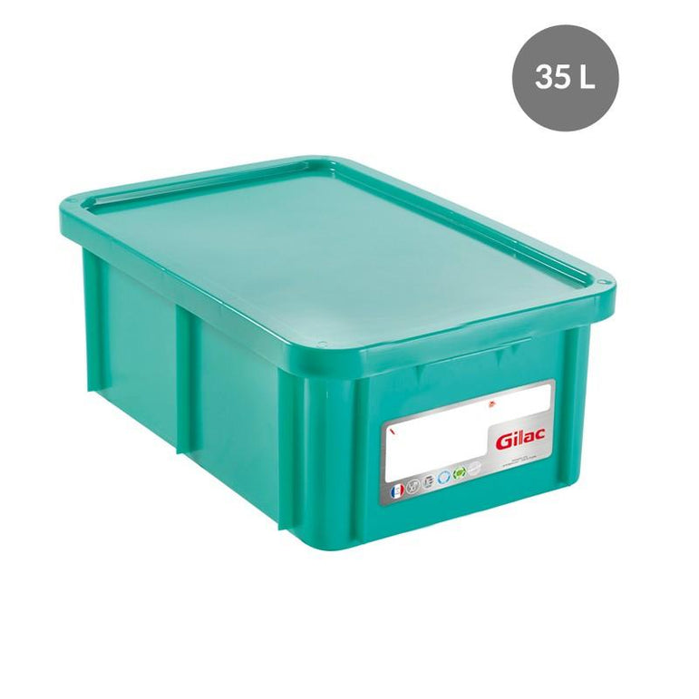 """RECTANGULAR CONTAINER WITH LID, COLOR: GREEN, CAPACITY 35 L"""