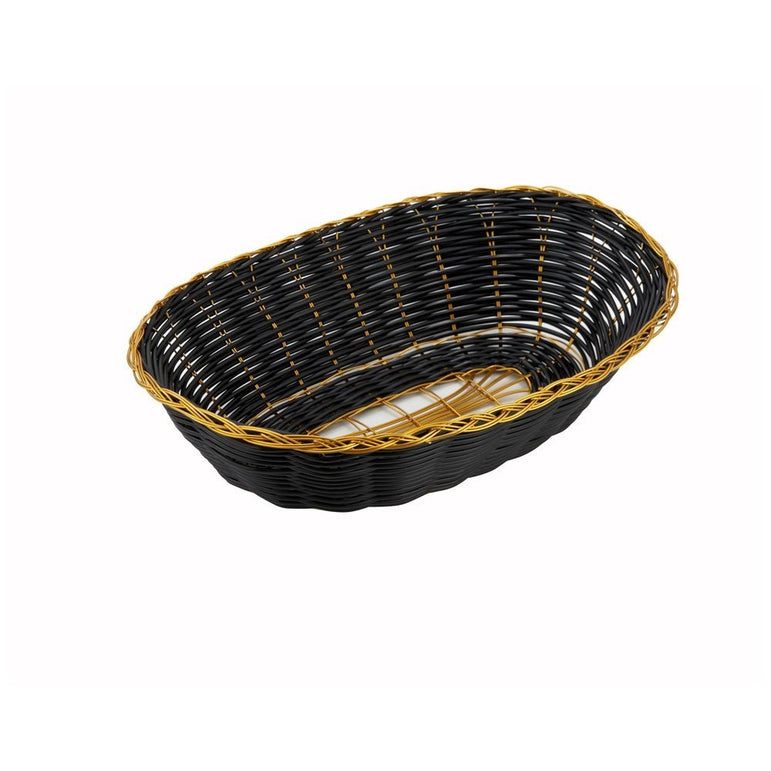 """9X6.25X2.25"""" OVAL GOLDEN TRIM BLACK BASKET"" - Mabrook Hotel Supplies"