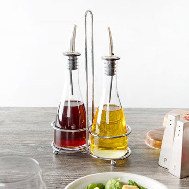 OIL & VINEGAR SET CLEAR GLASS - Mabrook Hotel Supplies