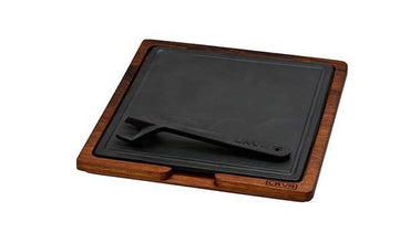 IROKO WOODEN PLATTER & CAST IRON HOT PLATE - Mabrook Hotel Supplies
