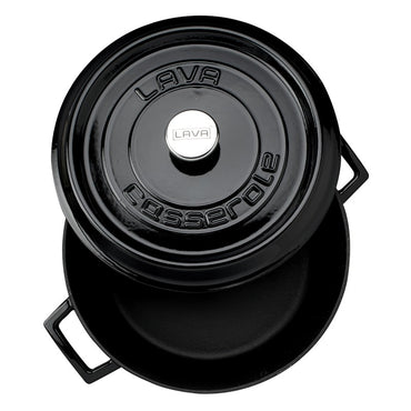 LAVA ROUND CASSEROLE BLACK- 32 CM - Mabrook Hotel Supplies