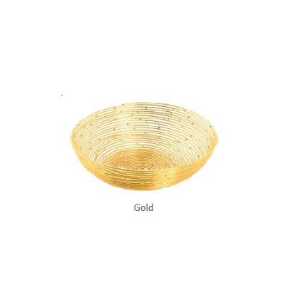 WIRED BREAD BASKET GOLD - 16 CM - Mabrook Hotel Supplies