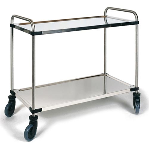 RIEBER STAINLESS STEEL SERVICE TROLLEY 2 SHELVES - Mabrook Hotel Supplies