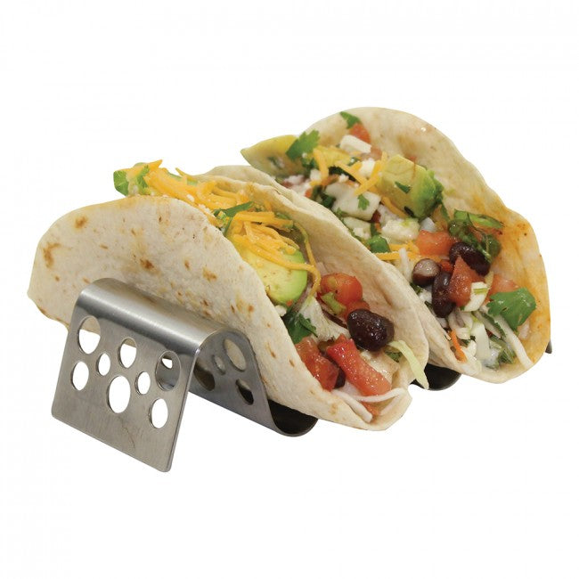 TABLECRAFT TACO TAXI STAINLESS STEEL STAMPED CIRCLES PATTERN TACO HOLDER