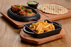LAVA SQUARE DISH AND WOODEN PLATTER - Mabrook Hotel Supplies