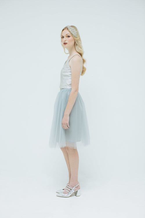 Sylvie Short Tulle Skirt in Dove Grey