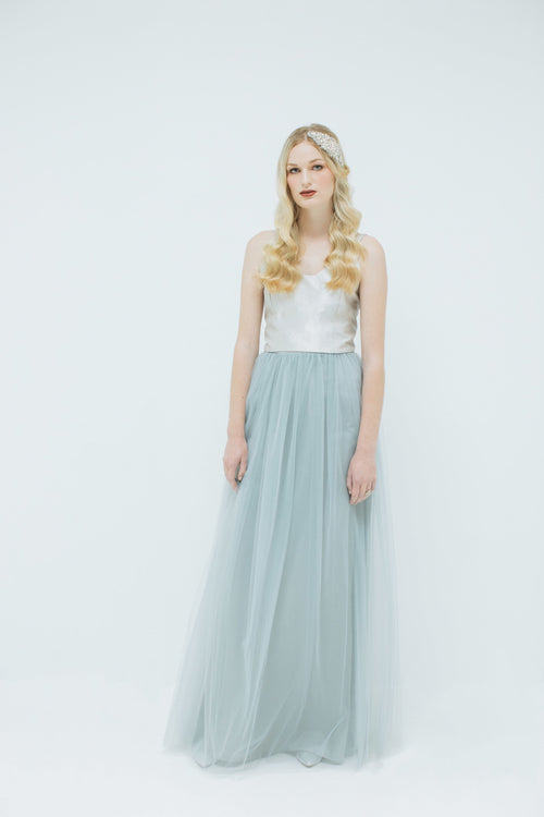 Sylvie Long Tulle Skirt in Dove Grey