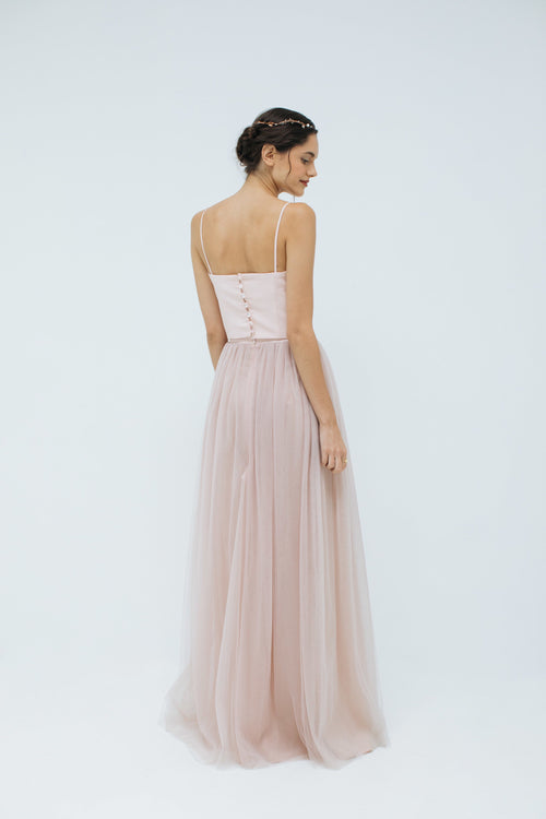 Sylvie Long Tulle Skirt in Blush